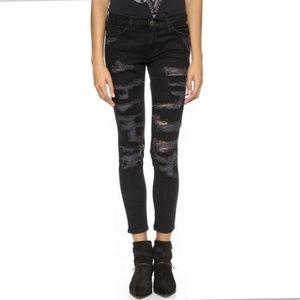 Current/Elliott The Stiletto Black Tattered Jeans